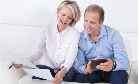 mature couple discussing retirement planning