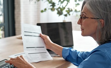 woman reviewing annuity statement in worthington, ohio